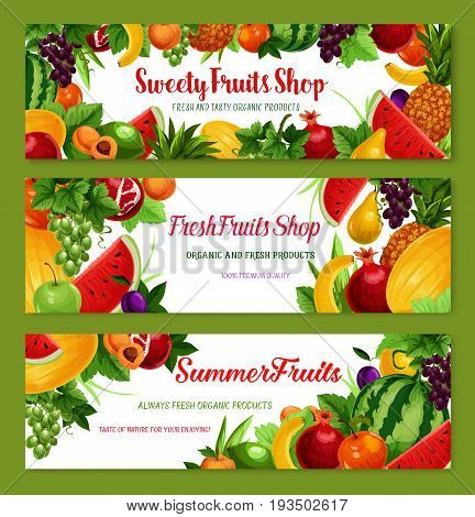 Exotic and garden fruits banners set for fruit shop or market. Vector farm harvest watermelon, avocado or apricot and banana or apple, pomegranate or melon and exotic pineapple or orange and peach