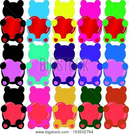 Set of color Teddybears with heart on white background