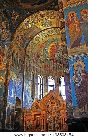 Saint Petersburg Russia -14 July 2016: Mosaics in the interior and fragment of iconostasis of the Church of the Savior on Spilled Blood. Church contains over 7500 square meters of mosaics. Church was built on the site where Emperor Alexander II was fatall