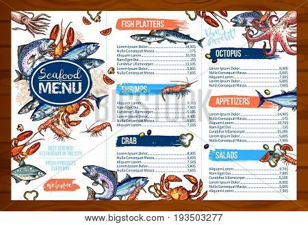 Seafood or fish food restaurant cuisine menu template. Vector price set for salmon or tuna fish platter dish, fresh shrimps on grill or crab and lobster, appetizers of ocotpus, squid and mussels salad