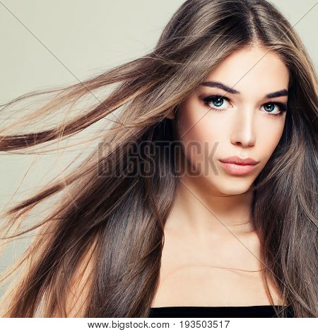 Perfect Girl with Long Healthy Hairstyle. Beautiful Woman Fashion Model with Brown Hair. Hair Care Concept
