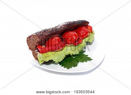 Freshness delicious sandwich on plate against white background
