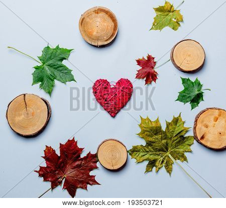 Autumn Leaves And Heart Shape Gift