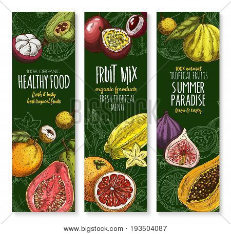 Fresh exotic fruits banners for tropical fruit shop menu. Vector harvest of juicy orange pomelo, mangosteen or rambutan and papaya or mango, maracuya passion fruit or figs and guava, mango and durian