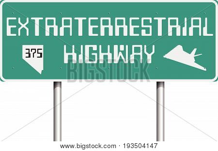 Vector illustration of the Extraterrestrial Highway road sign on the State Route 375 (Nevada)