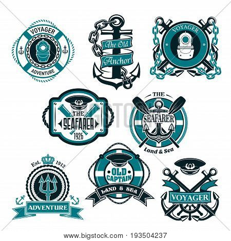 Nautical heraldic icons set. Vector isolated symbols of ship anchor and captain helm in chains, seafarer boat paddles and diver aqualung, voyager trident and life buoy rope or sailor navigator compass