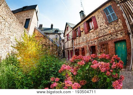 Beautiful streets of Honfleur old city with  brick houses and flowering plants
