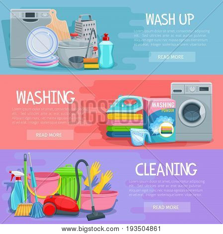 Home cleaning, dish and laundry washing banners set. Vector design of fresh linen, washing machine and kitchenware washer, vacuum cleaner, mopping sponge and glass cleaner or garbage bin and detergent