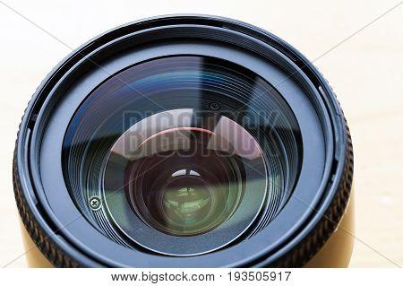 Professional camera lense isolated on white background