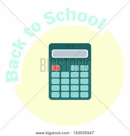 Flat colorful vector calculator icon. School and financial equipment symbol. Mathematics tool for enumeration calculation. Cute cartoon study symbol