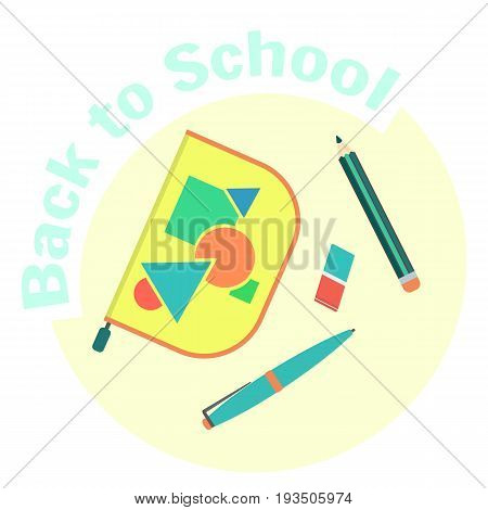 Flat colorful vector pen case pencil pen and eraser. School pencil box and equipment. Pen-case with school supplies. Cute cartoon study symbol