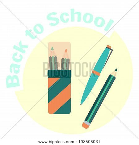 Flat color pencils in pencil case pen and pencil. School pencil box and equipment. Pen-case with school supplies. Cute cartoon study symbol