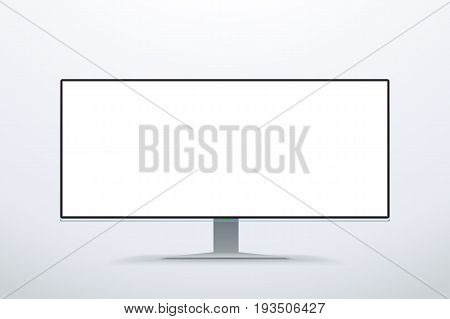 illustration of white color computer display with wide screen on bright background