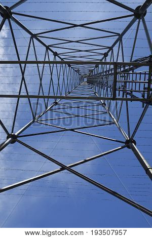 Picture from inside and up to the blue sky of a pylon with antennas picture from the North of Sweden.