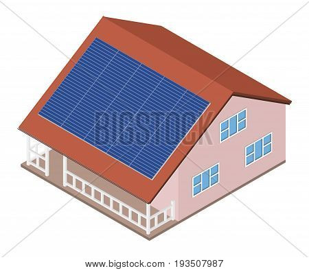 House with solar panel on roof. Isometric cottage with solar cells energy equipment. Eco friendly alternative technology concept. Vector illustration.