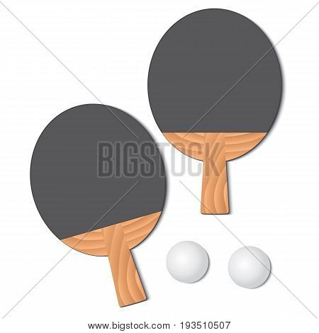 Set for playing ping-pong. Two rackets and a ping-pong ball. Vector illustration.