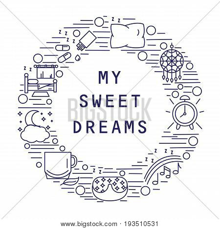 My sweet dream. Icons of healthy sleep or insomnia located inside the circle. Vector illustration.