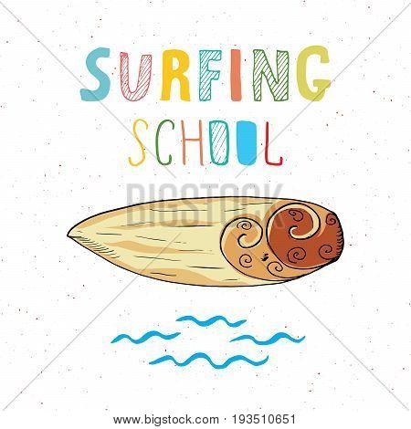 Surf boards hand drawn sketch t-shirt print design surfing school typography Summer vintage retro badge template vector illustration.