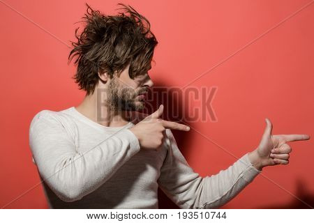 Product Presentation, Handsome Man With Beard And Stylish Hair