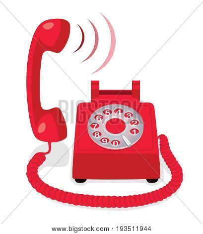Red stationary phone with rotary dial and raised handset. Vector illustration