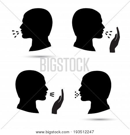 Cough icons vector set isolated on white. Black silhouette.