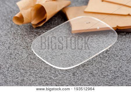 closeup clear acrylic template acrylic plastic material