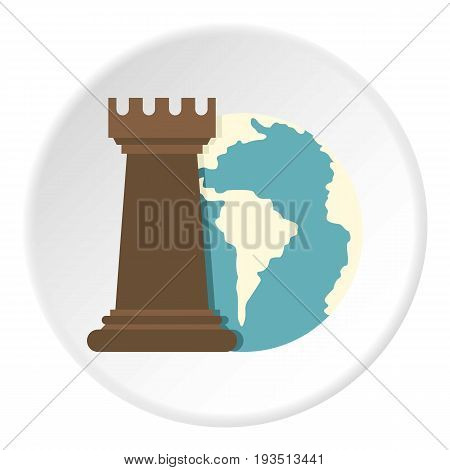 Globe Earth and chess rook icon in flat circle isolated vector illustration for web
