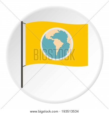 Yellow flag with the image of the globe icon in flat circle isolated vector illustration for web