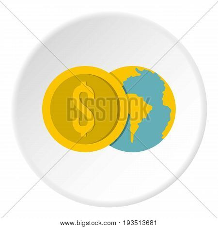 Globe and dollar coin icon in flat circle isolated vector illustration for web