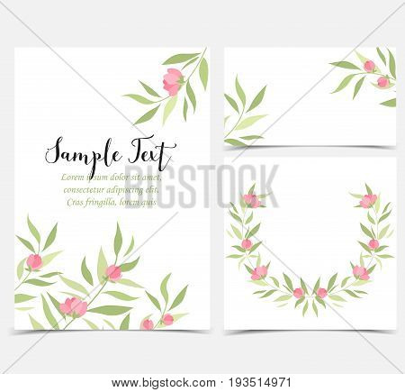 Set vector illustration of flower and leaves. Backgrounds with pink flowers