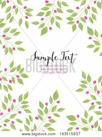 Vector illustration of pink buds and leaves. Background with branches of leaves