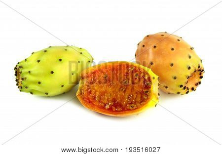 Prickly pear ( cactus fig ) on white background.