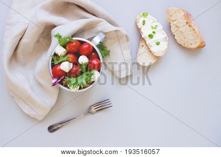 Fresh Salad With Tomato And Ciabatta Bread With Cream Cheese On The Gray Background