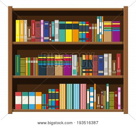 Library wooden book shelf. Bookcase with different books. Vector illustration in flat style