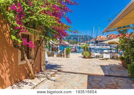 Fiskardo village and harbor on Kefalonia Ionian island Greece.