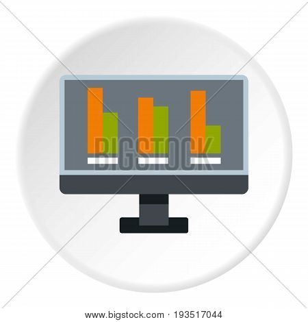 Bar graph on the screen of computer icon in flat circle isolated vector illustration for web