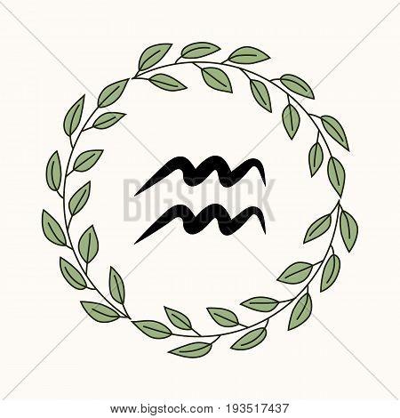 Hand drawing flat aquarius symbol in rustic floral wreath
