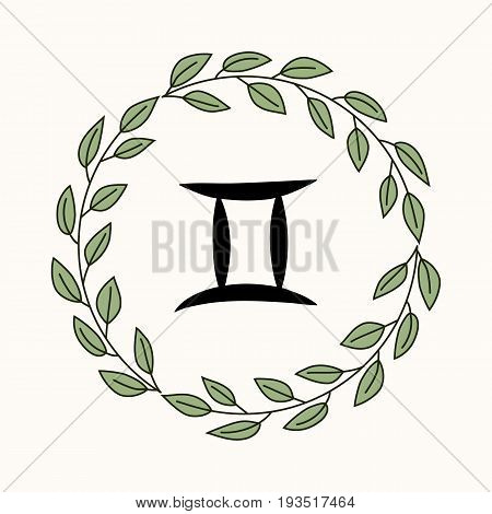 Hand drawing flat gemini symbol in rustic floral wreath