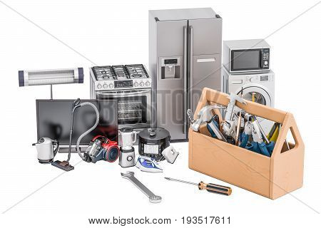 Service and repair of household appliances concept. 3D rendering isolated on white background