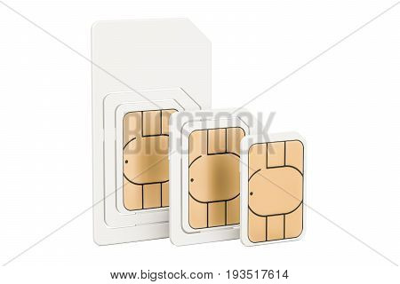 Set of sim cards mini micro nano 3D rendering isolated on white background