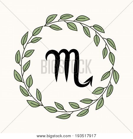 Hand drawing flat scorpio symbol in rustic floral wreath