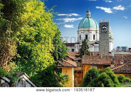 Beautiful Sunset View Of The Duomo Cupola Over The Town Brescia