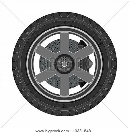 Car wheel with disc brake. Side view flat design. Isolated on a white background. Vector illustration.