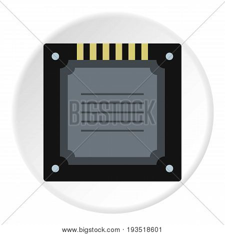 Modern multicore CPU icon in flat circle isolated vector illustration for web