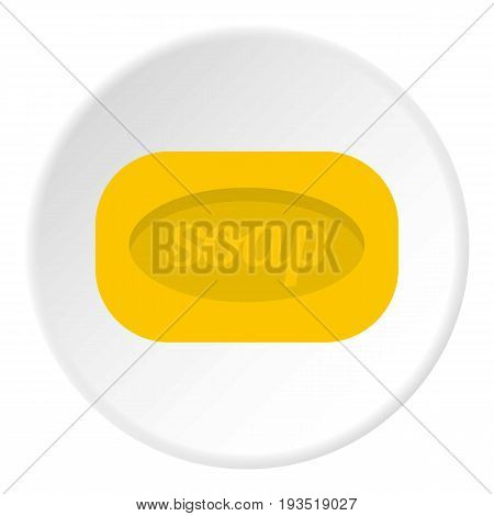 Yellow soap bar icon in flat circle isolated vector illustration for web