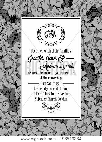 Damask Pattern Design For Wedding Invitation In Black And White. Pattern Is Included As Seamless Swa
