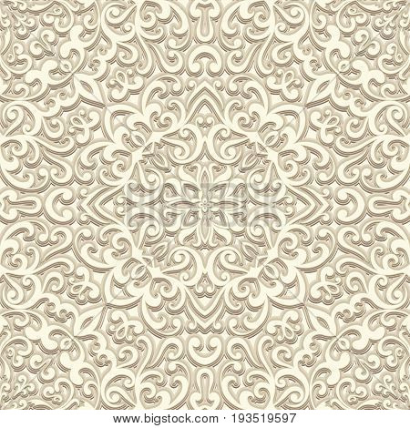 Vintage beige background, floral swirls, seamless pattern in light color