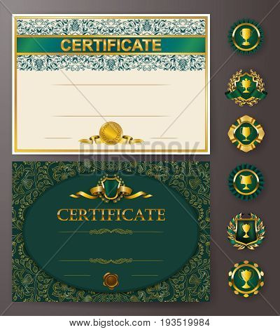 Set of elegant templates of diploma with lace ornament, ribbon, wax seal, badges, place for text. Certificate of achievement, education, awards, winner. Vector illustration EPS 10.