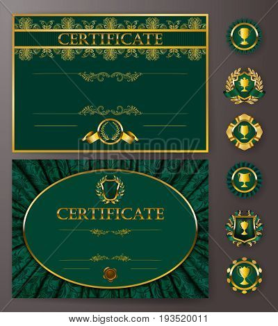 Set of elegant templates of diploma with lace ornament, ribbon, wax seal, drapery fabric, badges, place for text. Certificate of achievement, education, awards, winner. Vector illustration EPS 10.