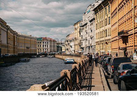 Saint Petersburg, RUSSIA - MAY 31, 2017: Embankment of St. Petersburg, river Moika, canals and rivers of St. Petersburg